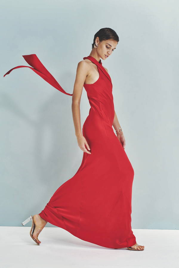 Galvan London Satin  Asymmetrical Halter Neckline Red Dress