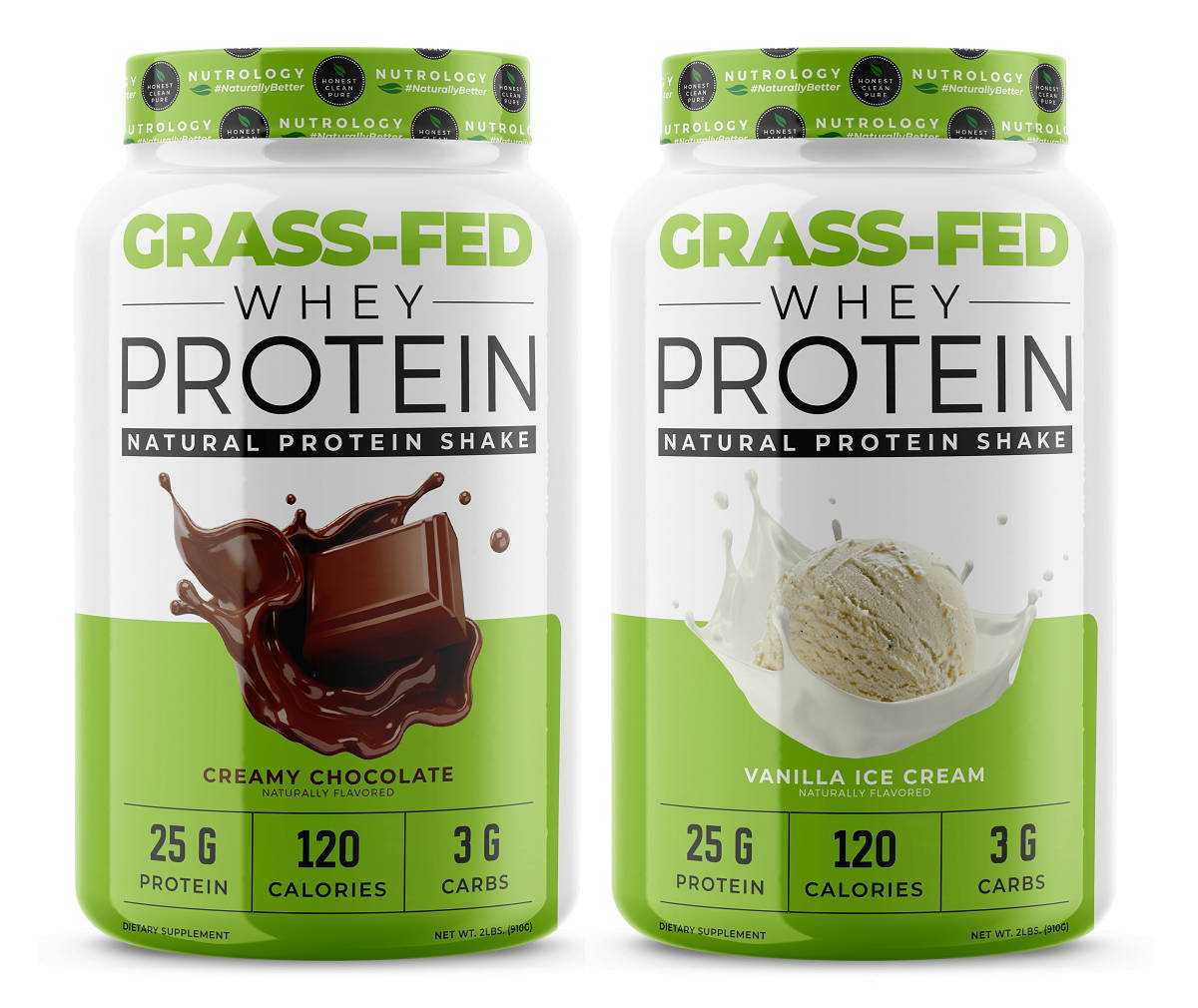 Nutrology Gras Fed Whey Protein Chocolate and Vanilla