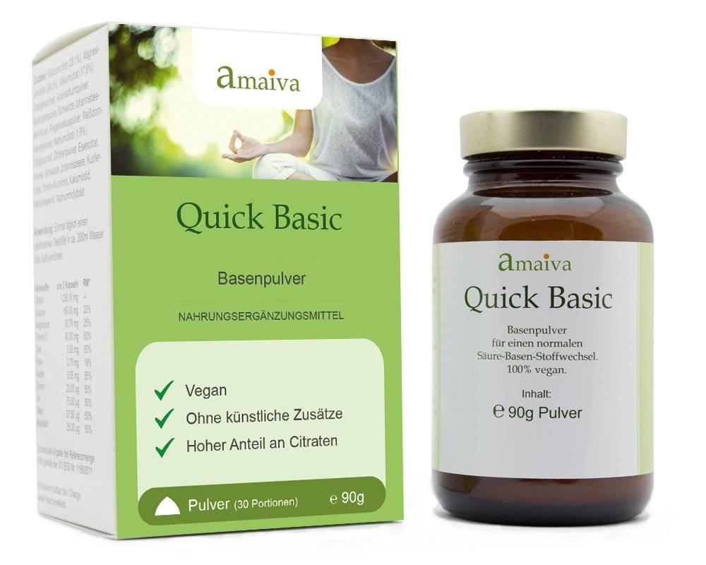 Basenpulver Quick Basic in der Braunglasflasche neben Faltschachtel
