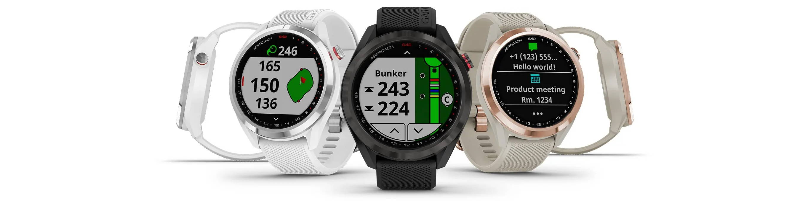 Garmin Approach S42 Golf GPS Smartwatch with Color Touchscreen - Gunmetal, Rose Gold, White Silver