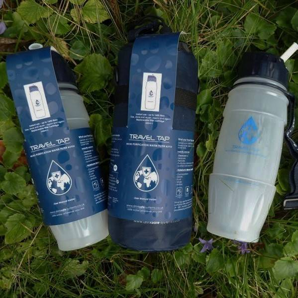 A selection of three reusable water filter bottles