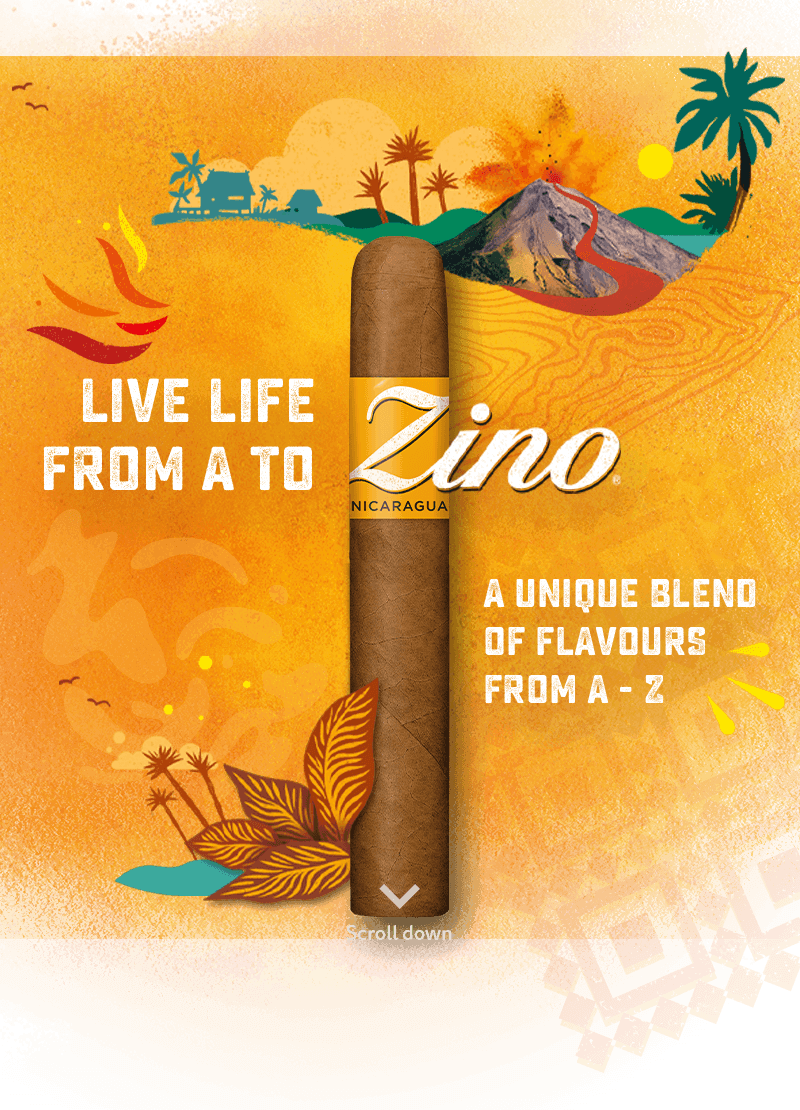 Illustration with a Zino Nicaragua Cigar - Live life from A to Z