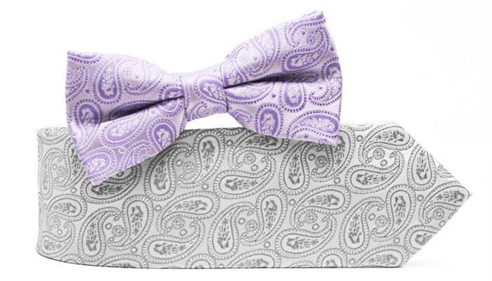 Paisley necktie and bow tie