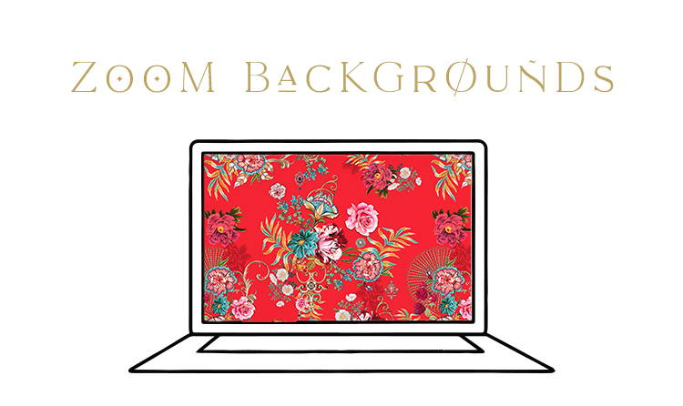 Zoom Backgrounds | Laptop with red CAMILLA print for background