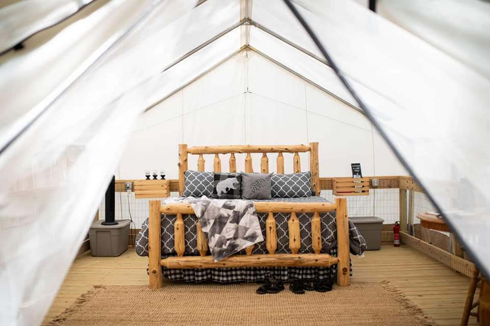 glamping bed camping wall tent canvas