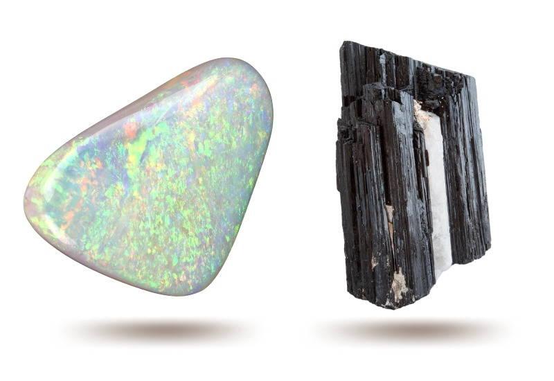 opal & tourmaline crystals