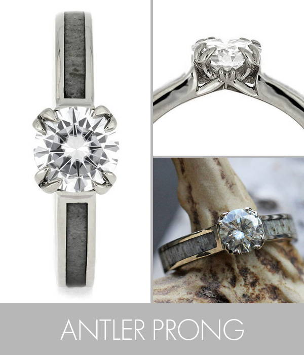 Engagement Ring With Antler Shaped Prongs