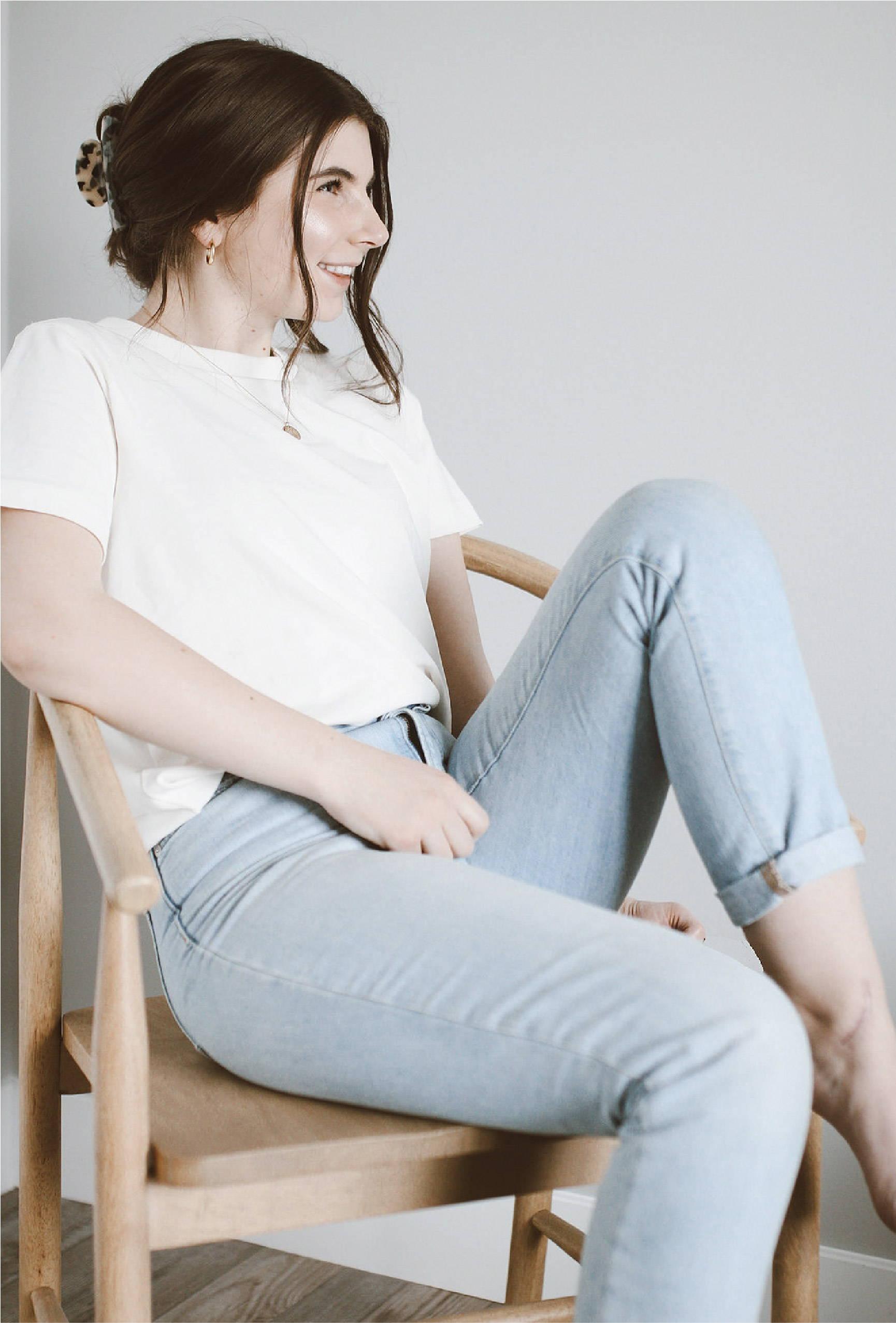Woman in tshirt sitting