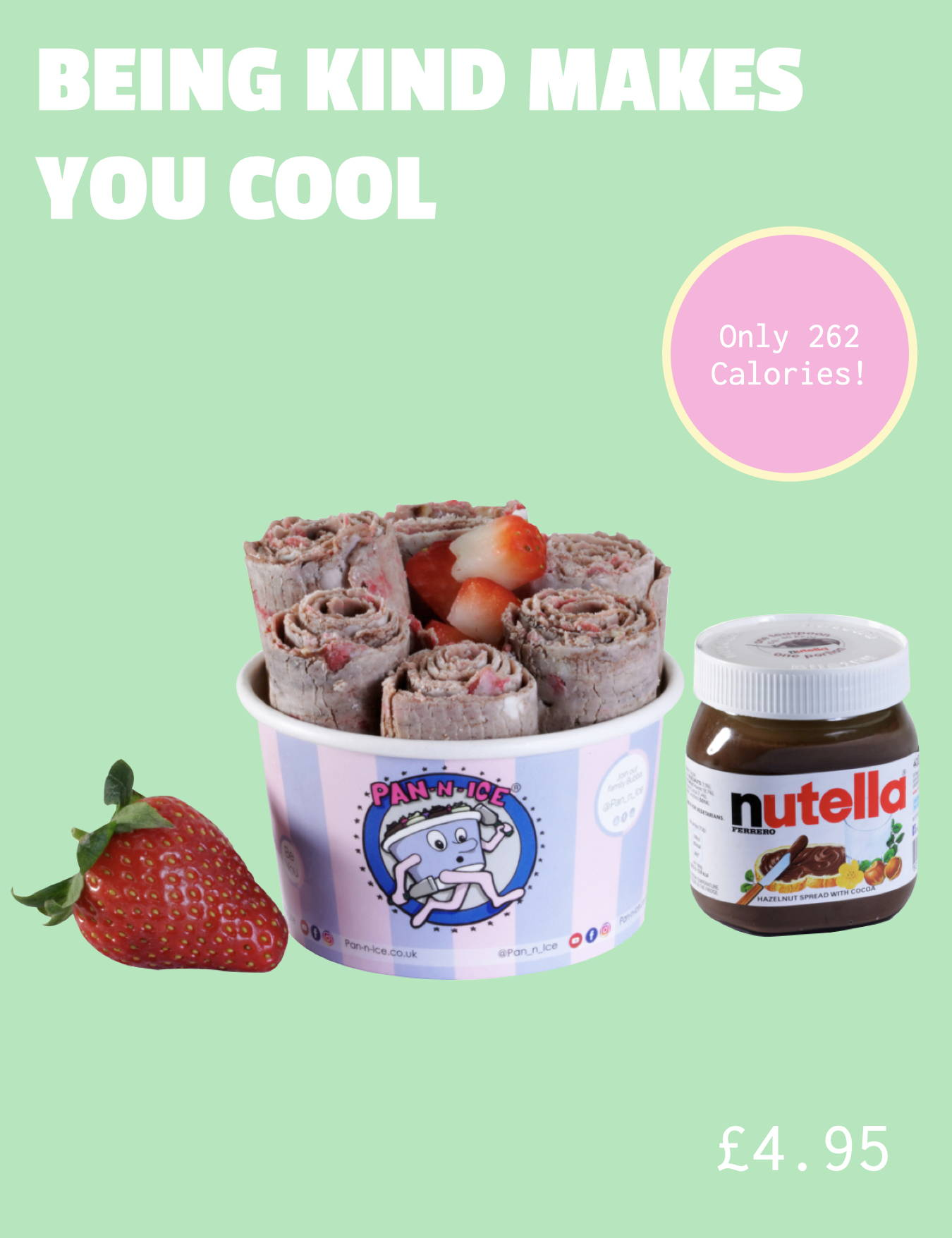 ice cream rolls with Strawberry, Nutella