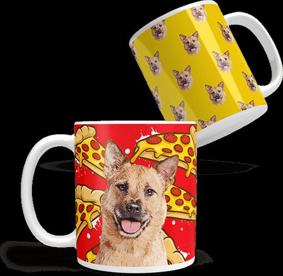 custom dog art coffee mug on pizza background