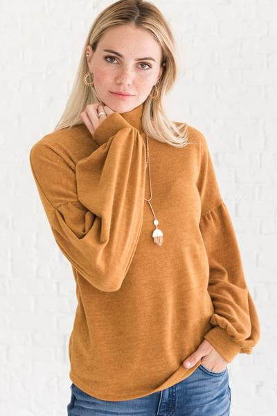 Mustard Yellow Cute Pullover Turtleneck Sweater with Bishop Sleeves