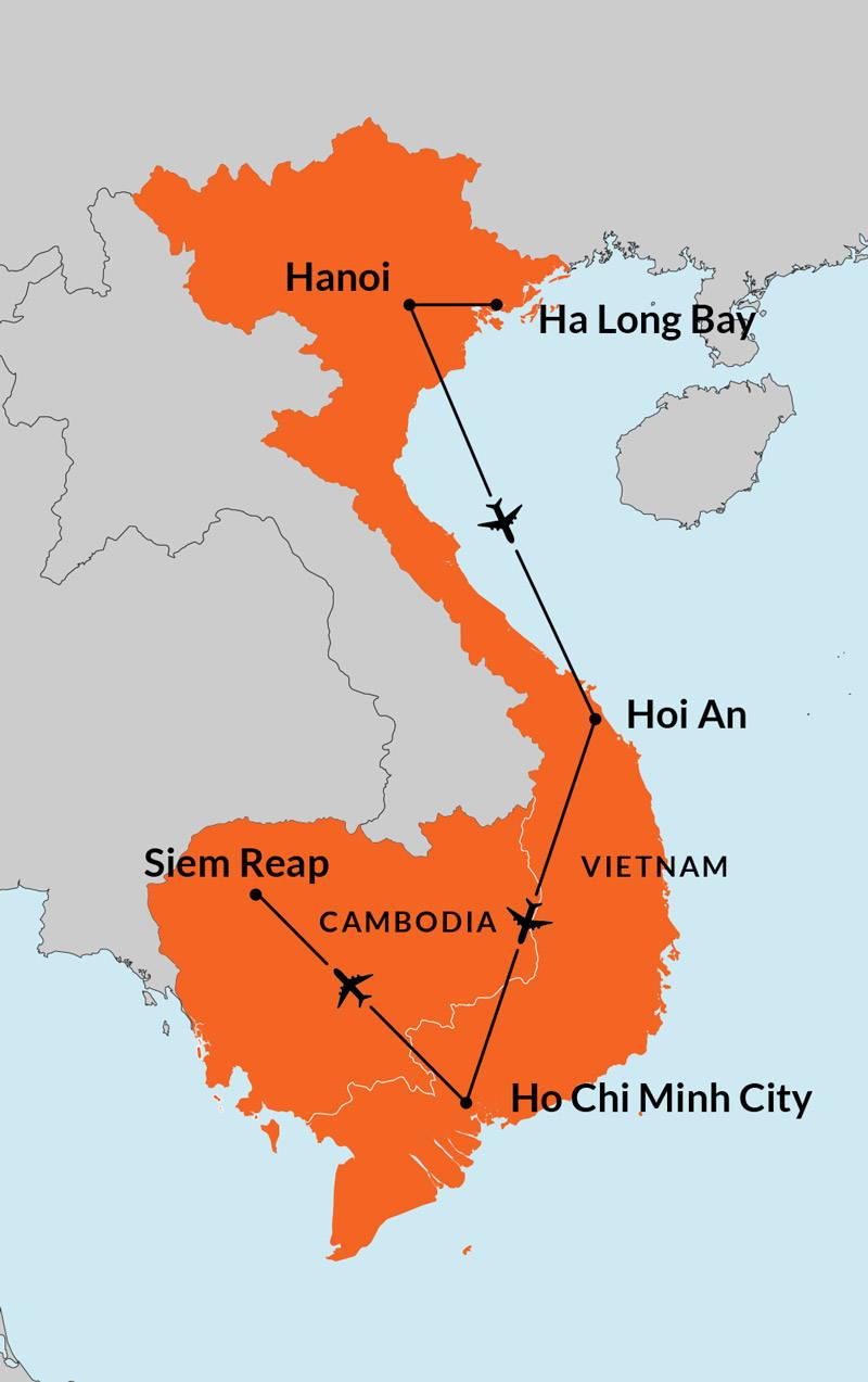 Travelbay Vietnam Tours - 13 Day Vietnam & Cambodia Map