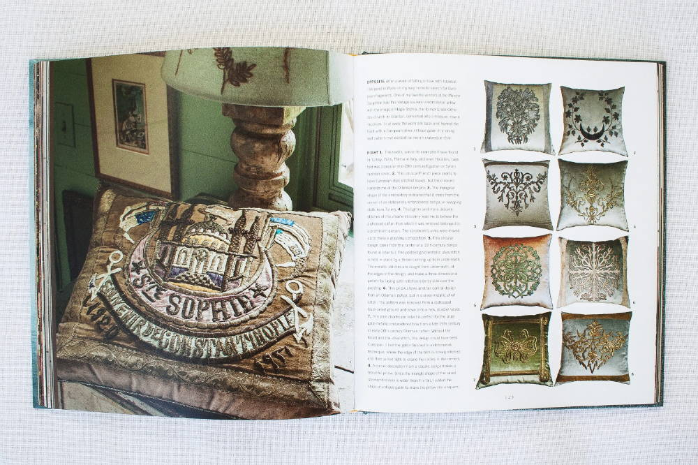 Antique Hagia Sophia embroidery found at the Marché Dauphine in Paris was used to create this beautiful example of an Ottoman Empire embroidered pillow by B. Viz Design, pictured in Once Upon A Pillow
