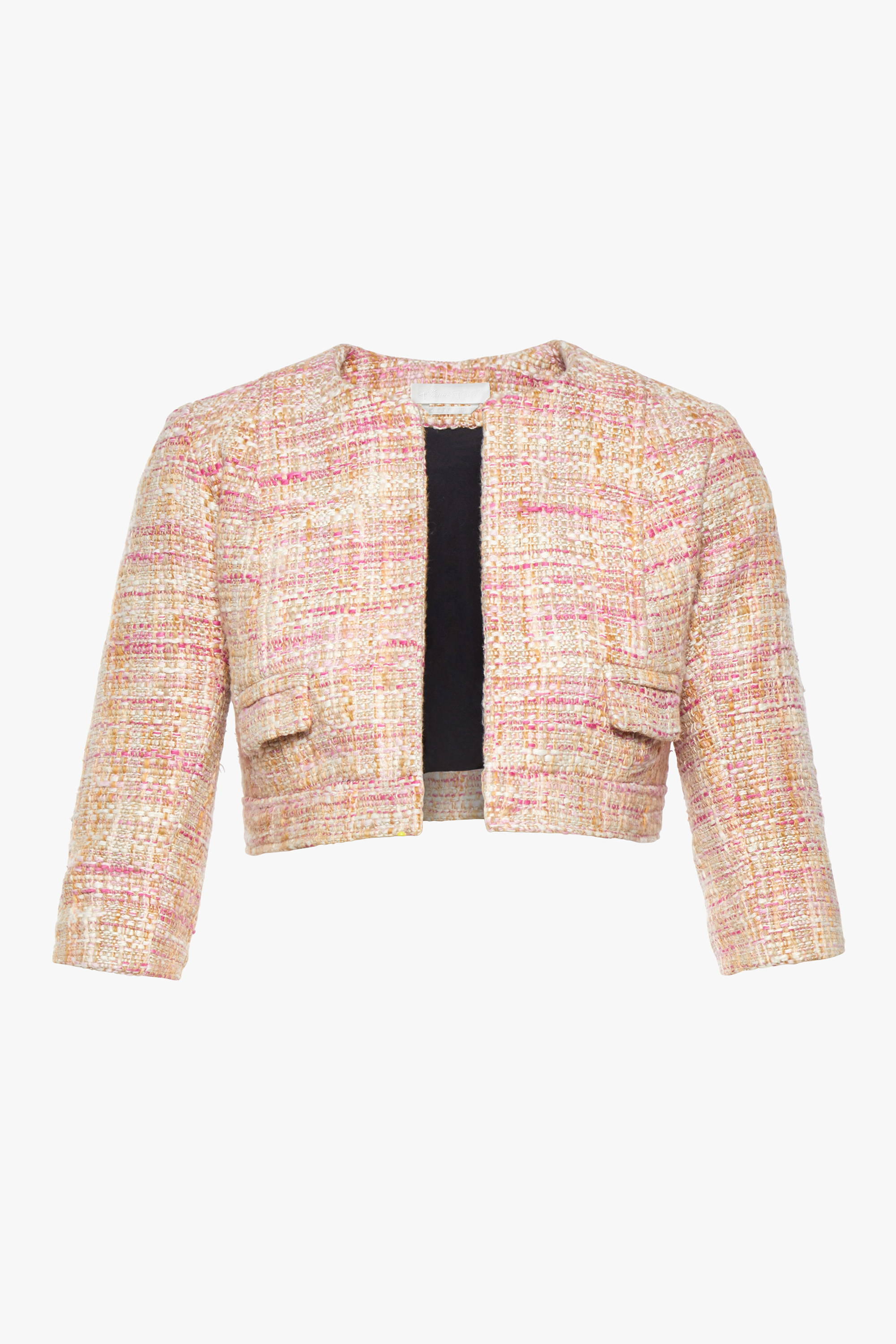 The maternity friendly Beverly jacket in pink boucle