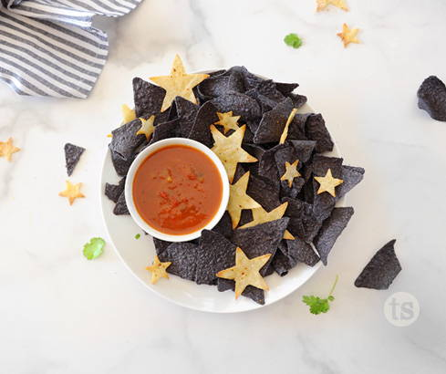salsa with blue chips and stars