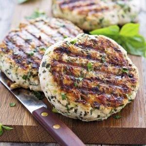 Caramelized Onion and Mushroom Turkey burger patties on cutting board