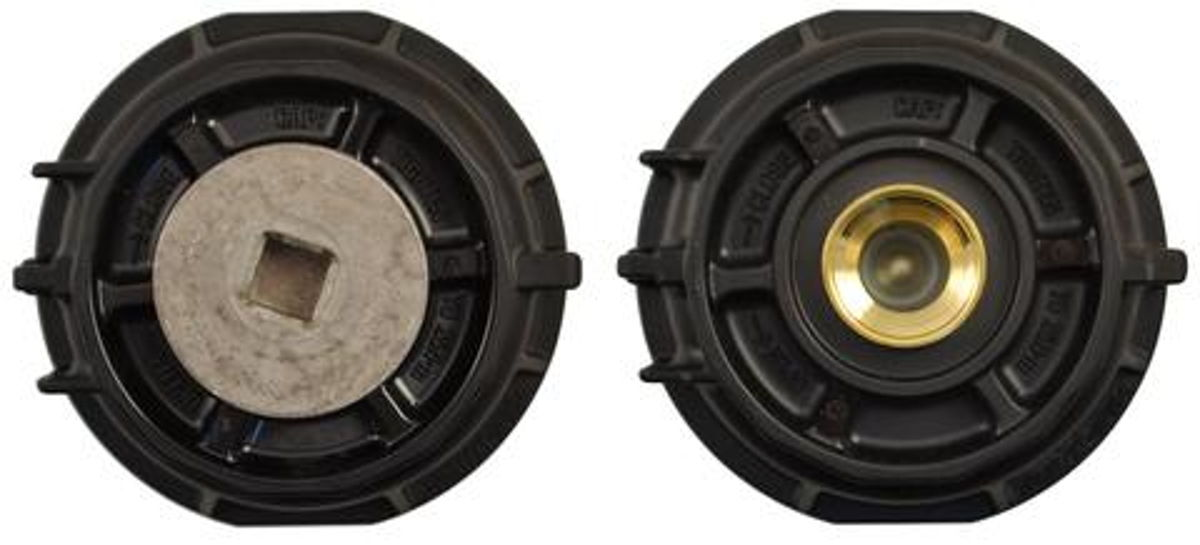 Drain plug in the Toyota 2.5L - 5.7L oil filter housing - top and bottom view