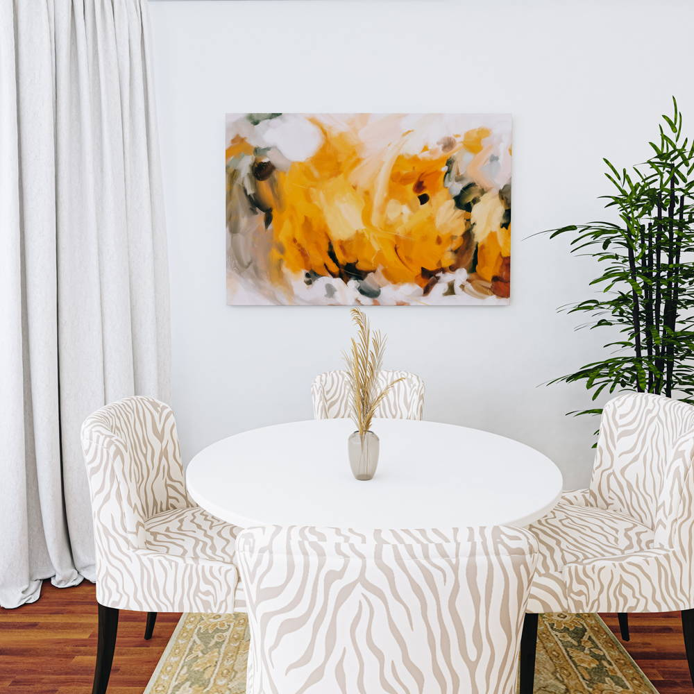 Large yellow abstract art print on canvas in bright and airy dining room. Art by Patricia Vargas of  Parima Studio