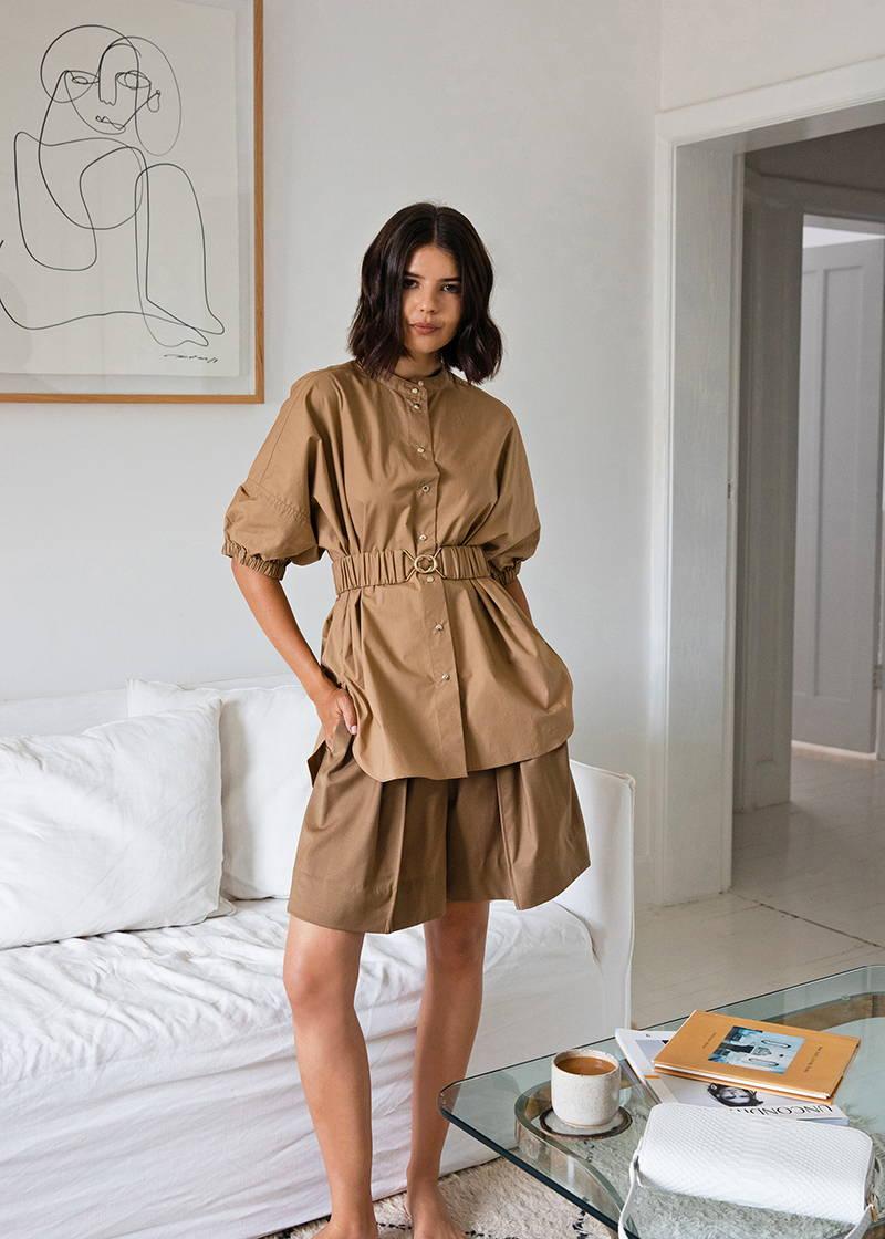 Oroton Talisa Sutton Tan Shorts and Blouse set