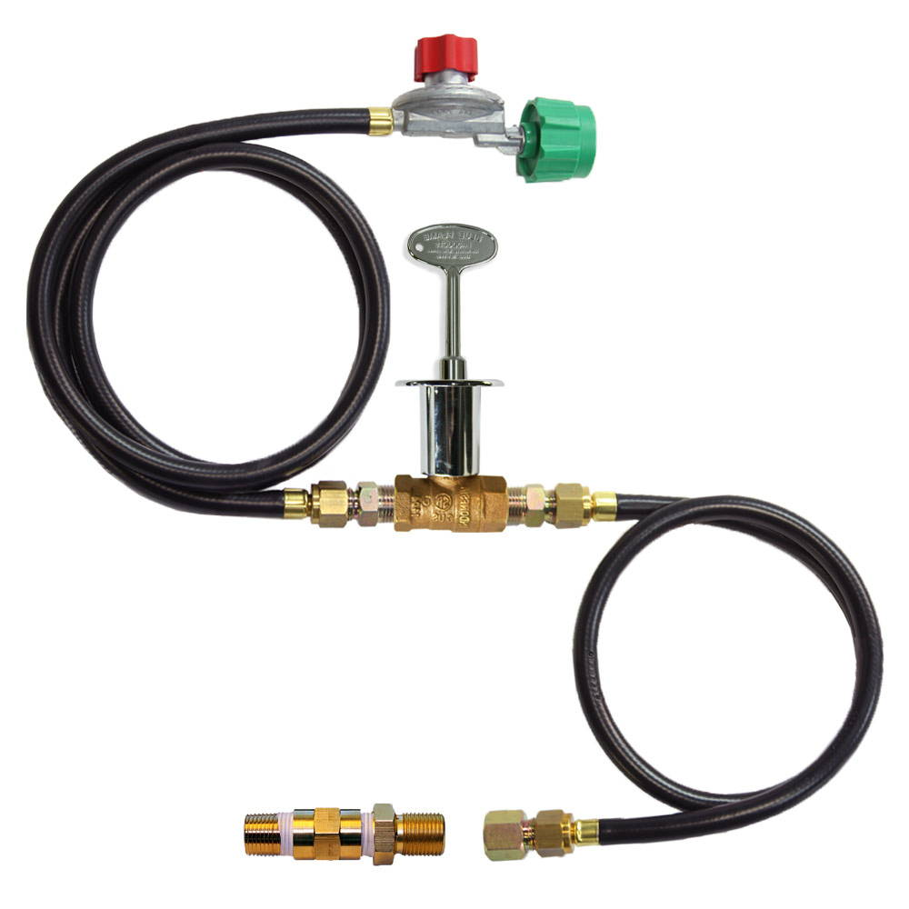 A gas fire pit connection kit