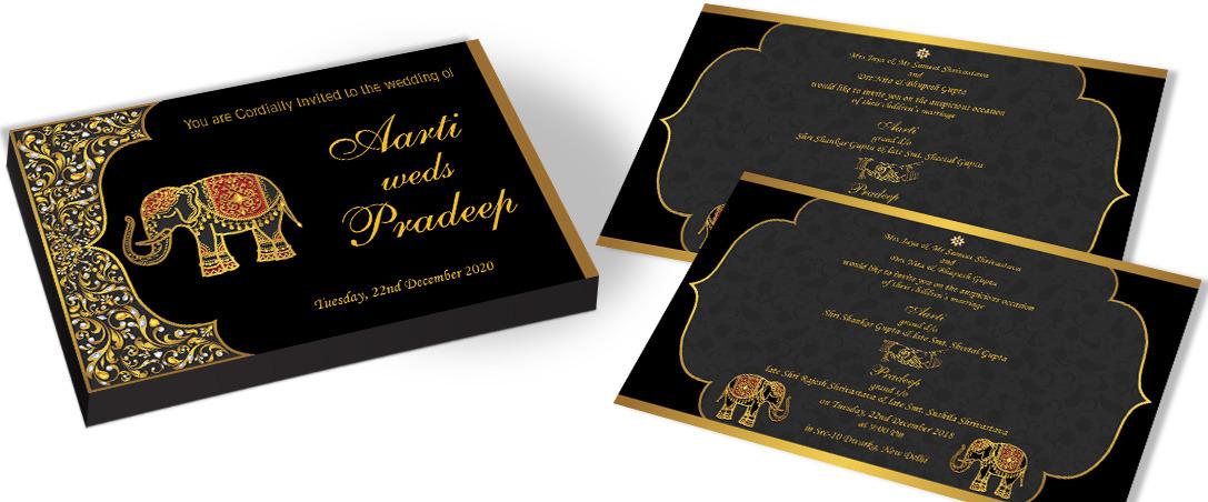 Golden Elephant Invitation for Hindu Wedding