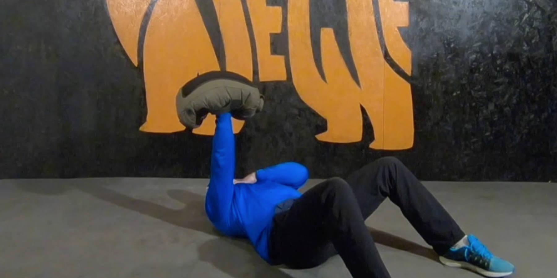 NEWF Bag Neutral Grip Single-Arm Floor Press Exercise