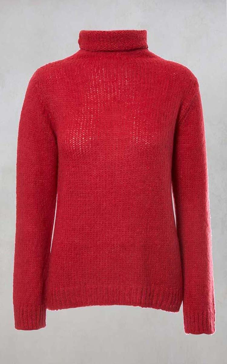 Roll Neck Jumper In Red