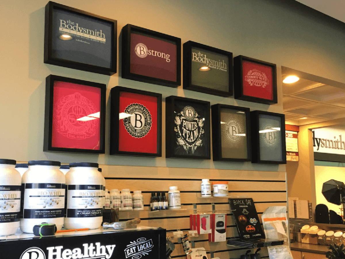 Retail Display of Shart T-Shirt Frames at  the Bodysmith