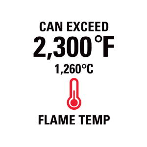 Can exceed 2300 degrees F (1260 degrees C) flame temperature