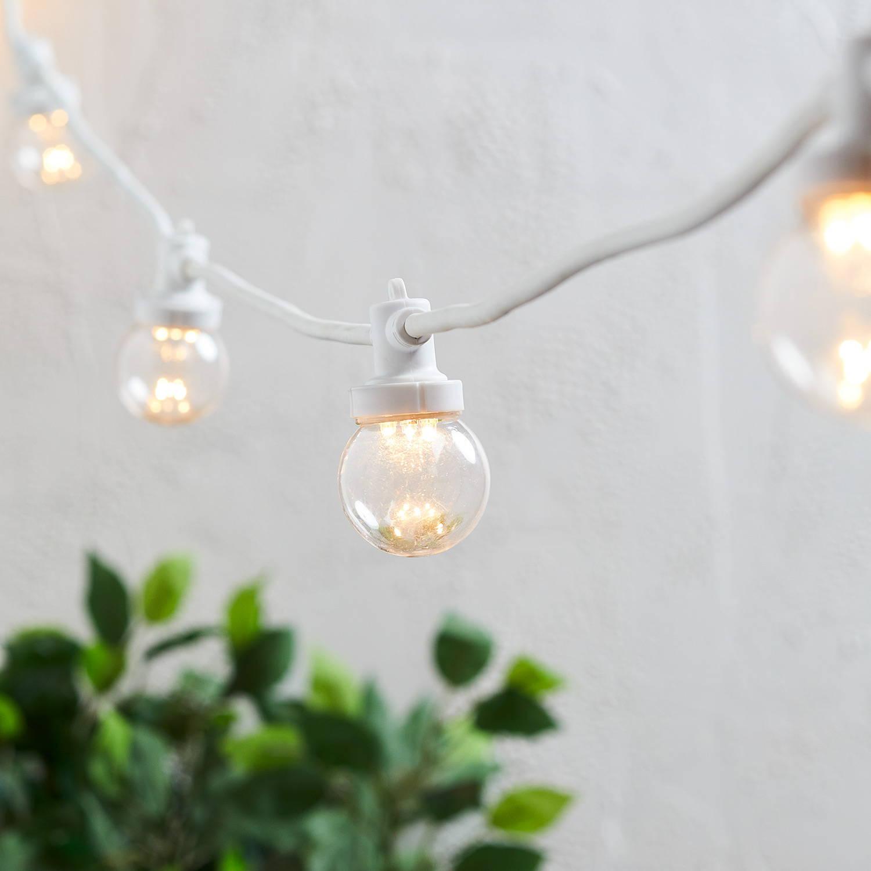Guirlande guinguette pro connect cable blanc ampoules transparentes.