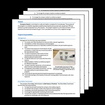 Respirable Crystalline Silica Exposure Control Plan for Construction