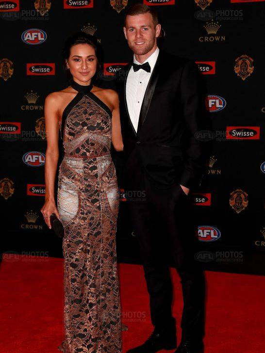 Footballer Sam Docherty wearing Daniel Hechter at the Brownlow Medal Awards in Melbourne