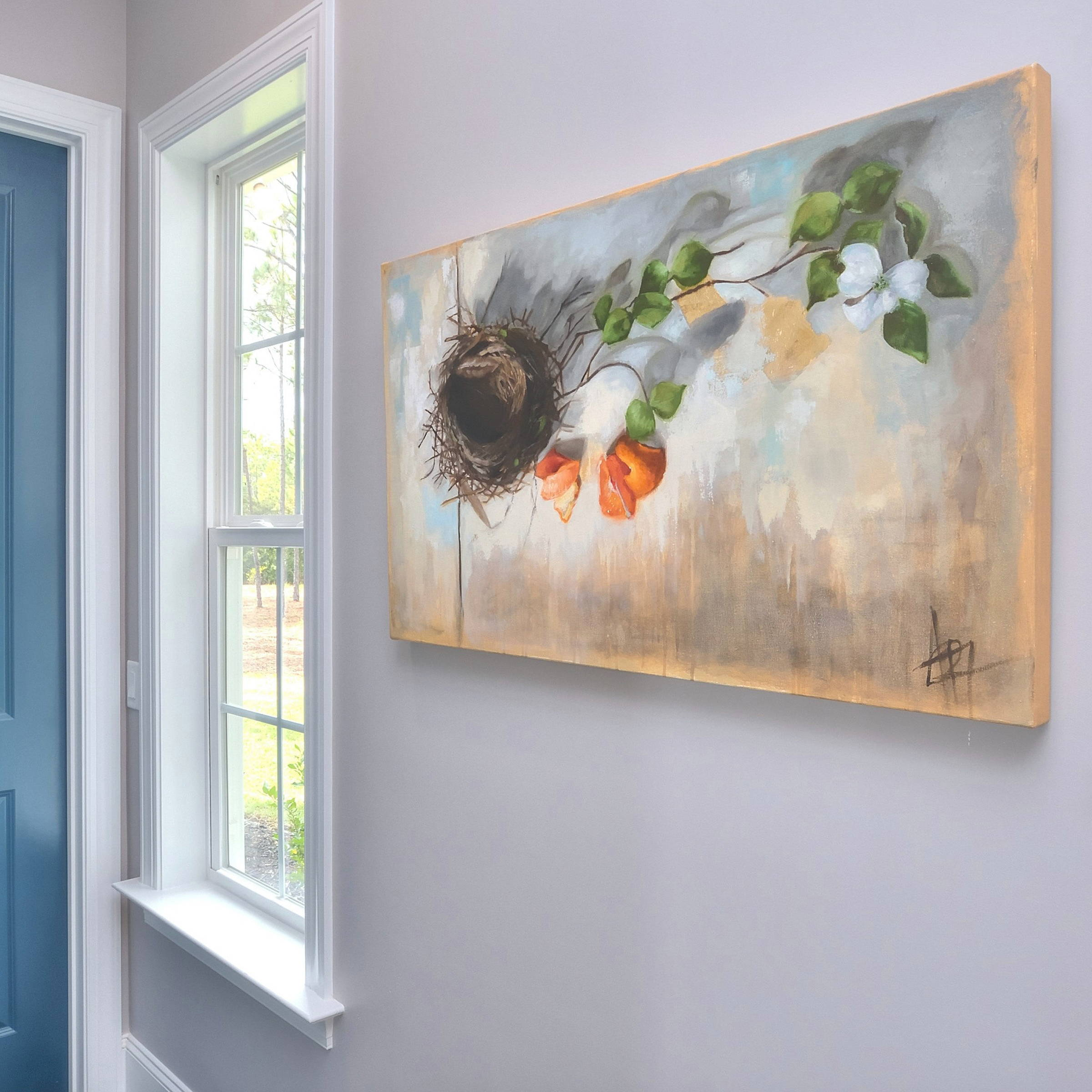Beautiful Oil Painting of nest, orange, dogwood flowers, Southern Still Life by Andie Paradis Freeman