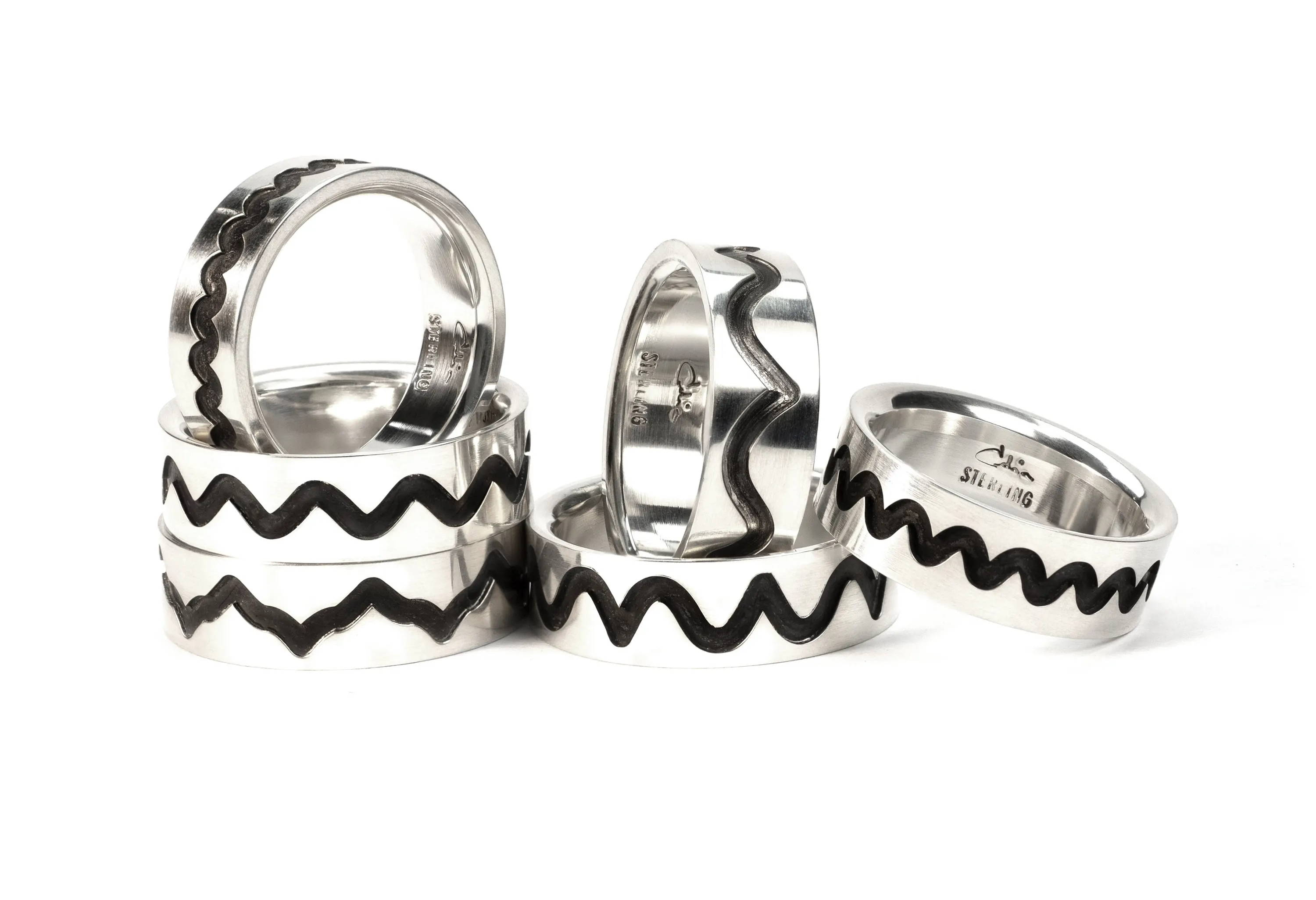 A Collection of Ring Bands Ornamental Turned with undulating Wave Patterns from the Rose Engine Lathe