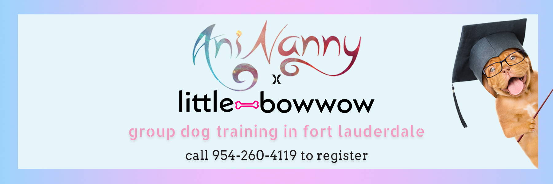 Aninanny and Little Bow Wow are offering group dog training in Fort Lauderdale.  Call 954-260-4119 to register.