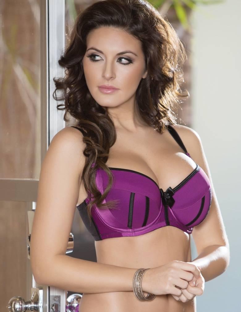 Parfait Charlotte 6901 Purple Wine/Black Padded Balconette Push Up Bra