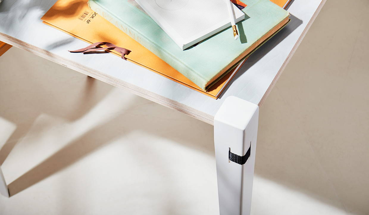 a diy table made with the floyd utility set in white