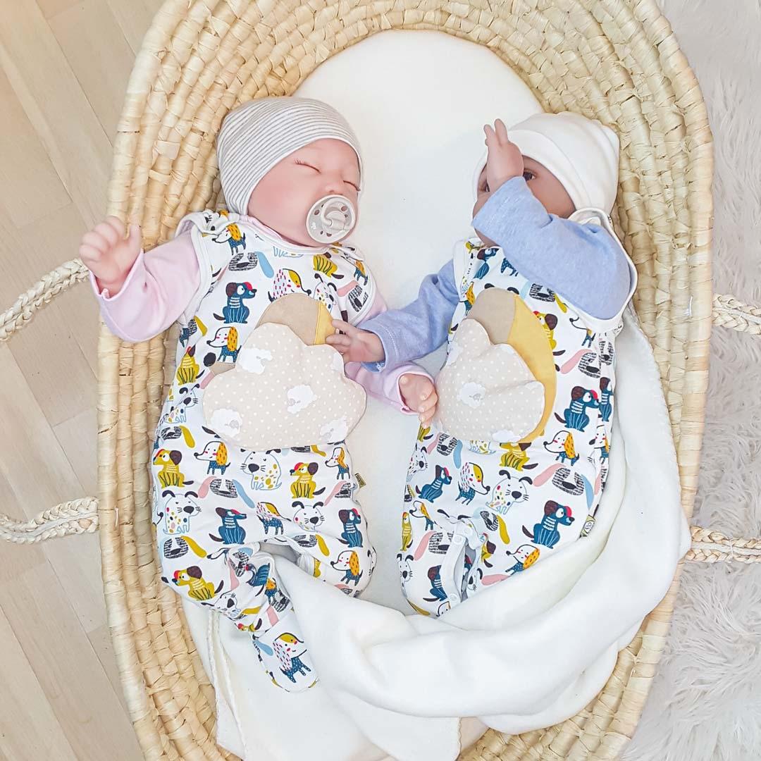 Perfektes Outfit für Zwillinge, Strampler-Set mit Wickelbody und Wärmekissen