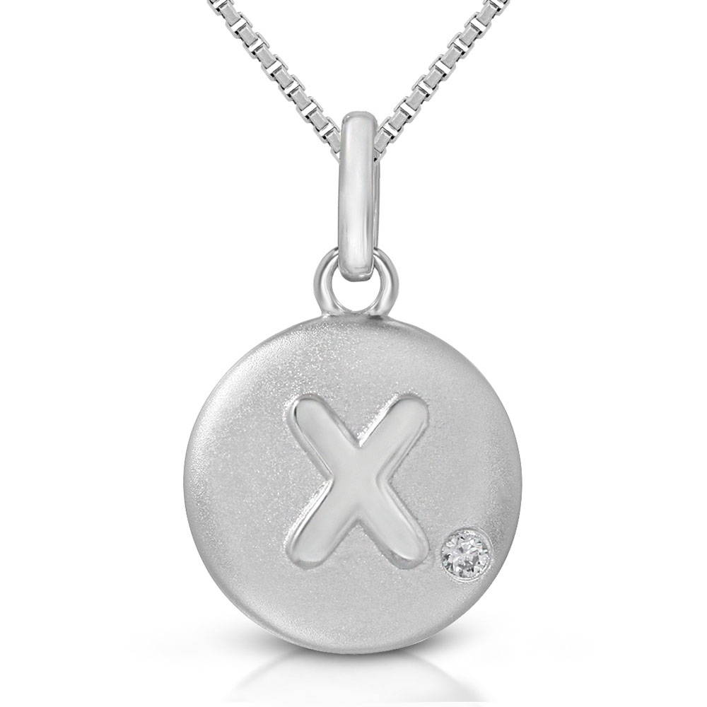 Pure at Birth letter X pendant with greek box necklace