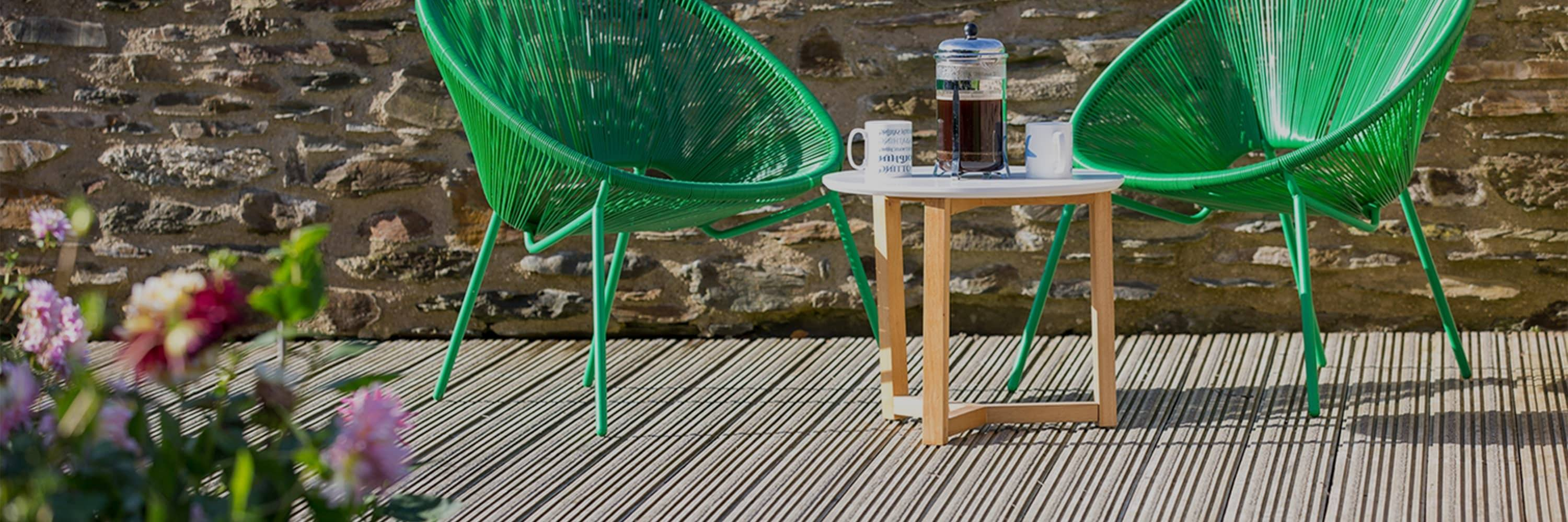 Chairs and Coffee on Decking