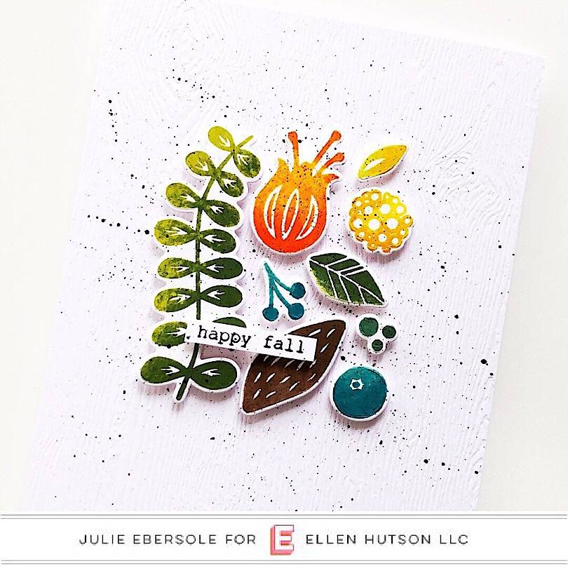 Fall card using Essentials by Ellen and Rock N' Roll inking technique.