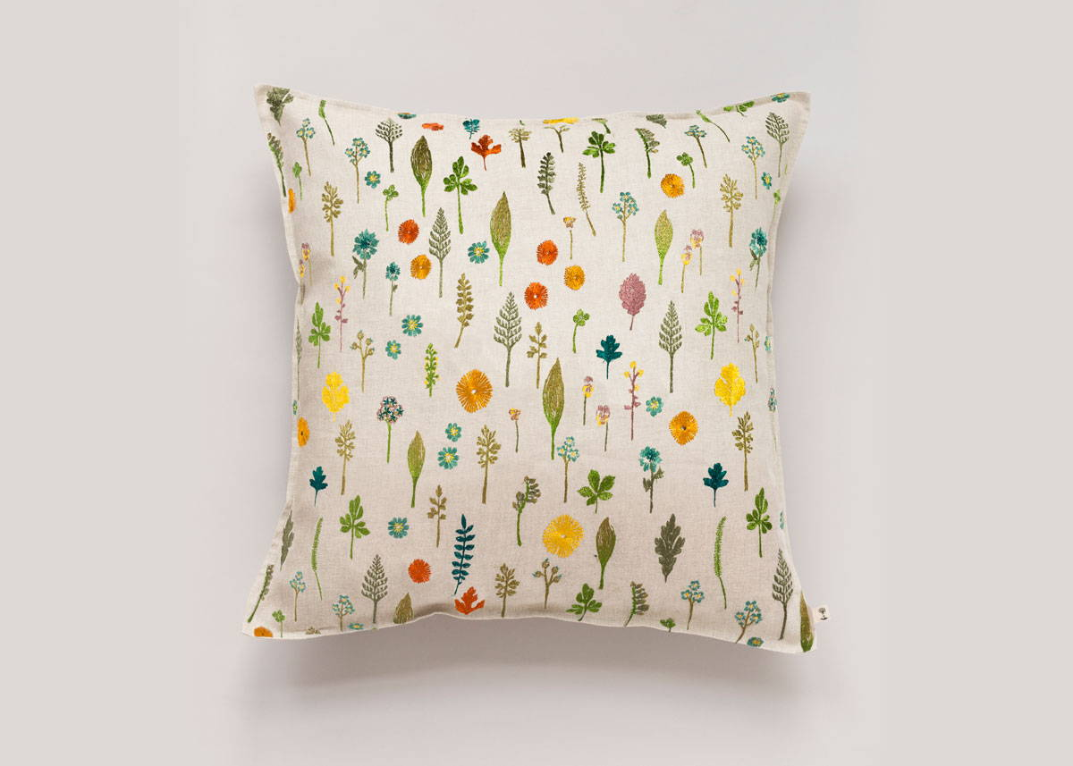 Garden Pattern Embroidered Pillow