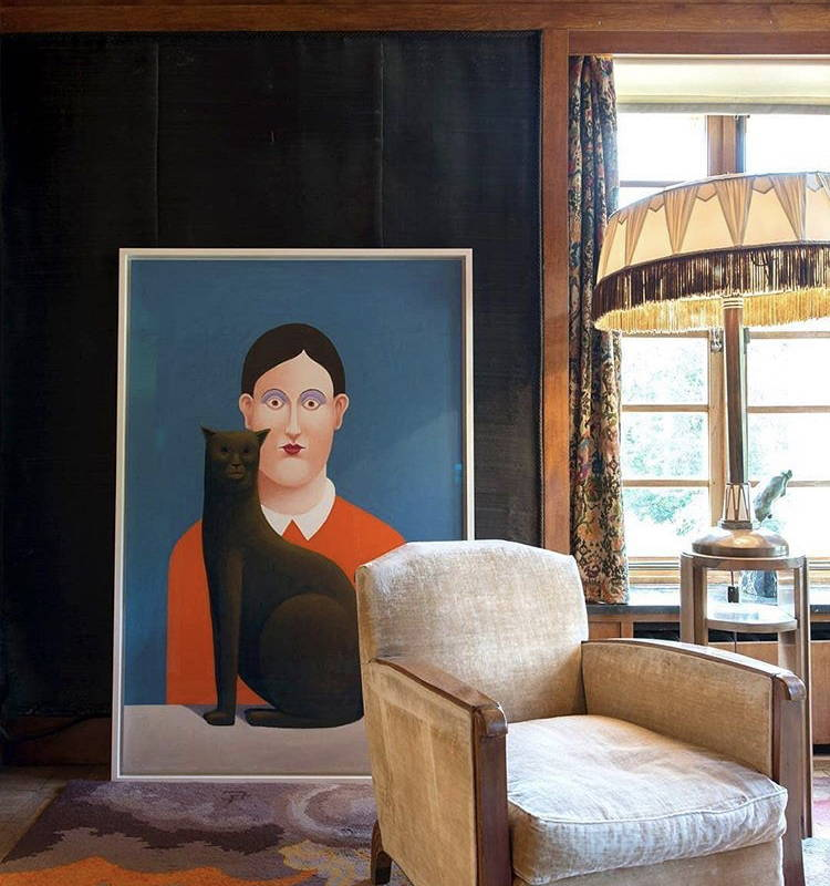 Interior of a collector's house with Nicolas Party artwork