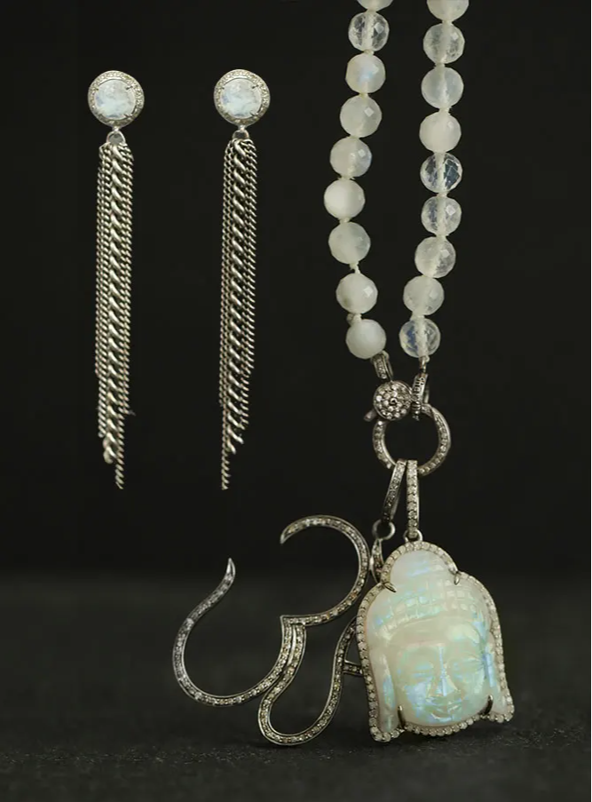 moonstone and crystal