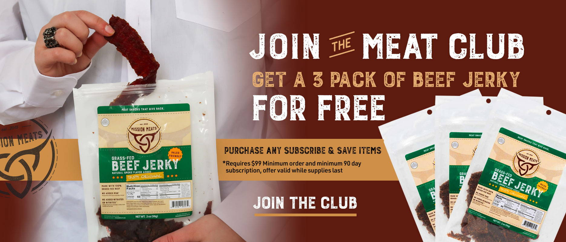 Free beef jerky join the meat club