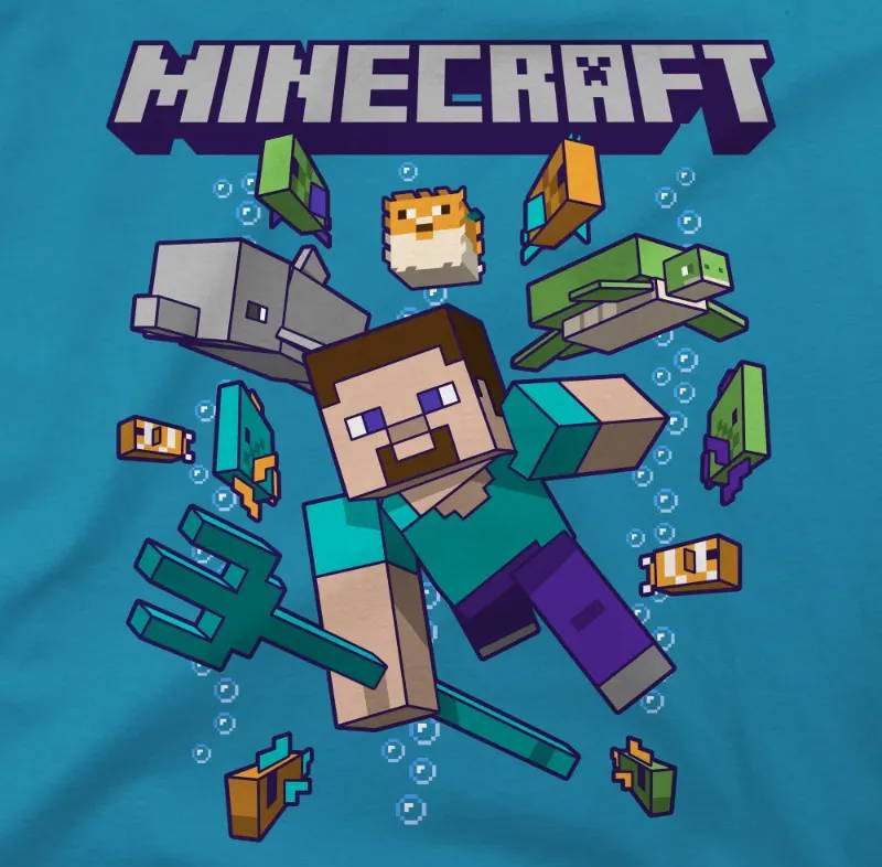 Image showing the design of the Minecraft Ocean Friends Youth Tee,  Steve swimming with a dolphin, turtle and fish