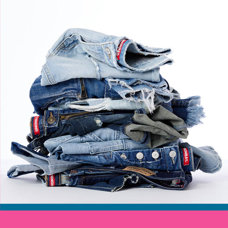 Folded pile of blue Unionbay denim styles