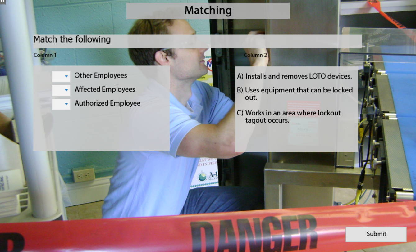Lockout Tagout E-Learning Matching Exercise