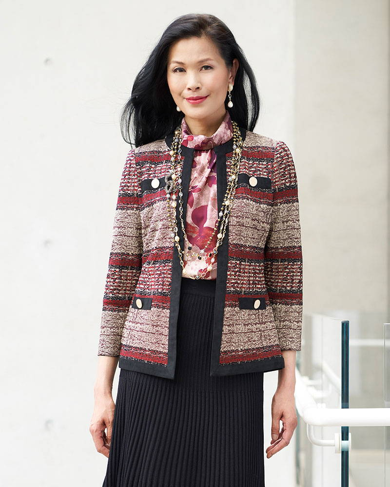 Faux Suede and Tweed Knit Jacket Paired with the Multi-Stitch A-Line Knit Skirt