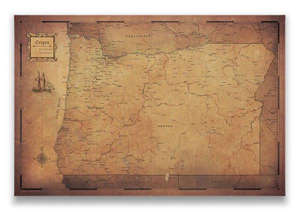 Oregon Push pin travel map golden aged